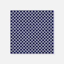 """Navy Blue Quatrefoil Patter Square Sticker 3"""" x 3"""""""