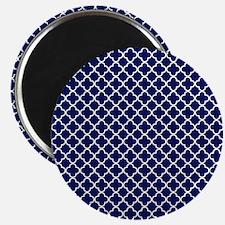Navy Blue Quatrefoil Pattern Magnet