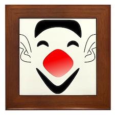 Big Red Nose Clown Face Framed Tile