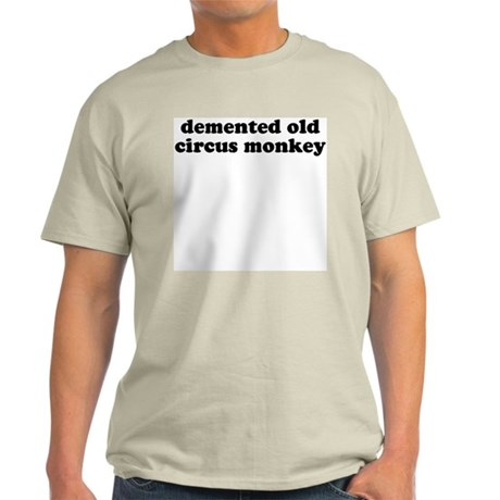 Demented Old Circus Monkey Ash Grey T-Shirt