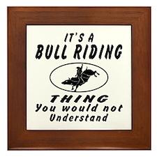 Bull Riding Thing Designs Framed Tile