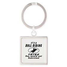 Bull Riding Thing Designs Square Keychain