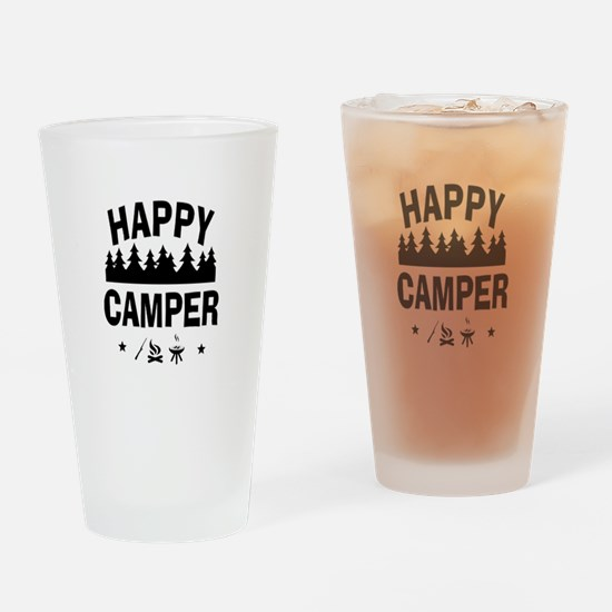 Happy Camper Fun Vacation Quote Drinking Glass