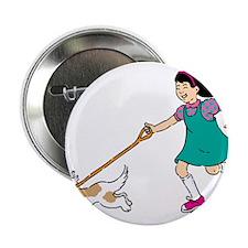 """Cartoon Girl Walking a Dog 2.25"""" Button (10 pack)"""
