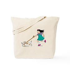 Cartoon Girl Walking a Dog Tote Bag