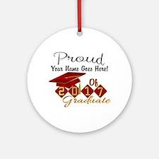 Proud 2017 Graduate Red Round Ornament