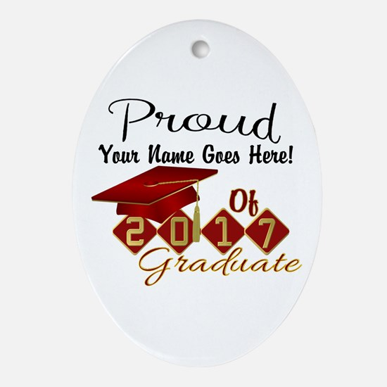 Proud 2017 Graduate Red Oval Ornament