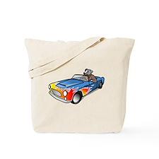 Cartoon Dog Driving Sports Car Tote Bag