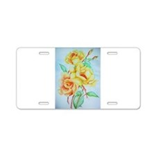roses in bloom Aluminum License Plate