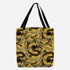 Black Gold Chinese Dragon Pattern Polyester Tote B