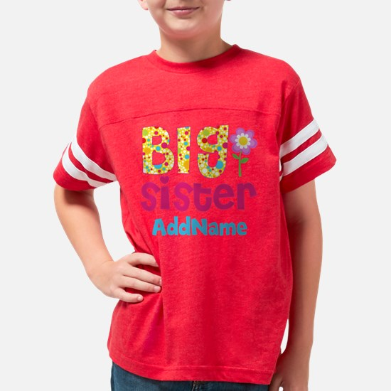 Big Sister Pink Teal Floral P Youth Football Shirt