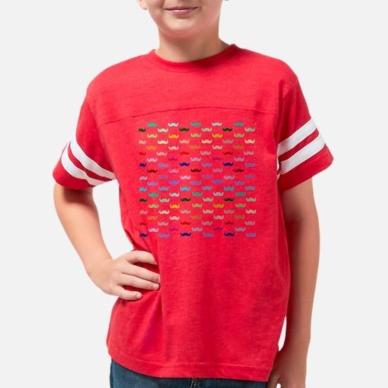 Rainbow mustache pattern Youth Football Shirt