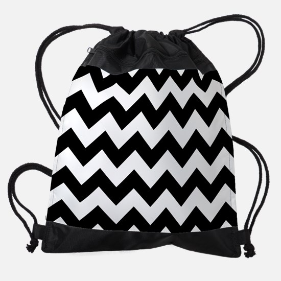 Black And White Chevron Pattern Drawstring Bag