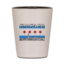 Chicago outline-5-FLAG Shot Glass