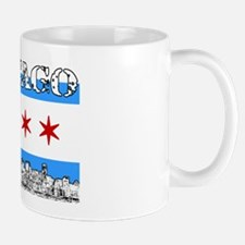 Chicago outline-5-FLAG Mugs