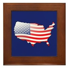 """United States Bubble Map"" Framed Tile"