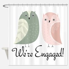 We're Engaged Owl Couple Shower Curtain