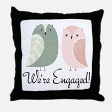 We're Engaged Owl Couple Throw Pillow