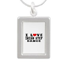 I Love Irish Step Silver Portrait Necklace