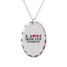 I Love Irish Step Necklace Oval Charm