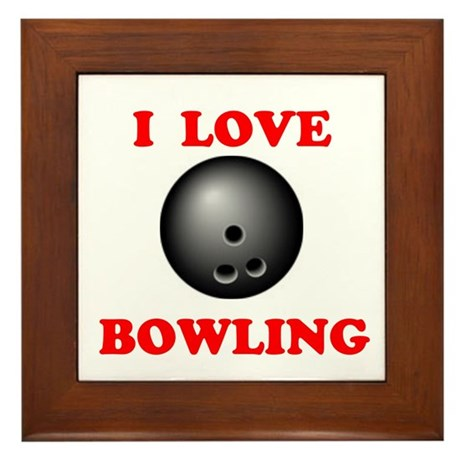 I LOVE BOWLING Framed Tile