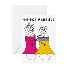 we got married Vertical Greeting Cards