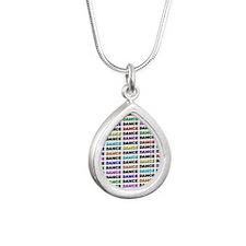 Dance Block Silver Teardrop Necklace