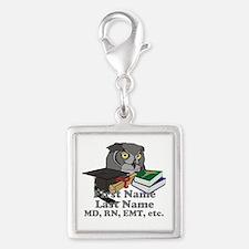 Custom Owl Medical Graduate Silver Square Charm