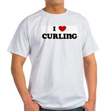 I Love Curling Ash Grey T-Shirt