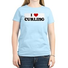 I Love Curling Women's Pink T-Shirt
