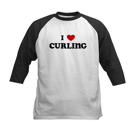 I Love Curling Kids Baseball Jersey
