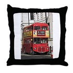 Vintage Red London Bus Throw Pillow