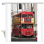 Vintage Red London Bus Shower Curtain
