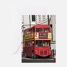 Vintage Red London Bus Greeting Cards
