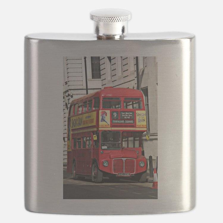 Vintage Red London Bus Flask