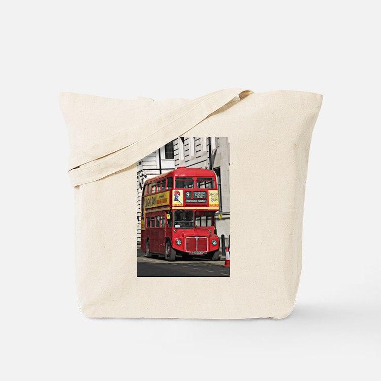 Vintage Red London Bus Tote Bag