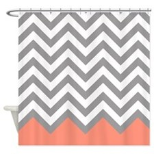 Grey and Coral Chevrons Shower Curtain