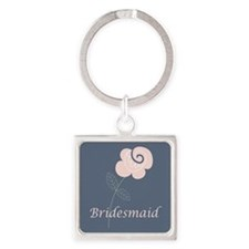 Bridesmaid Rose Floral Square Keychain