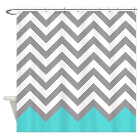 Grey And Turquoise Pattern 2 Shower Curtain By RetroCulture