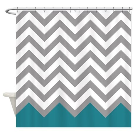 Grey And Teal Pattern 2 Shower Curtain By FamilyFunShoppe