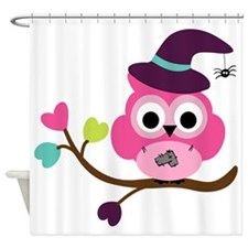 Cute Halloween Owl Shower Curtain