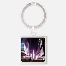 New York Times Square at Night Square Keychain