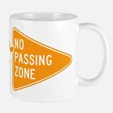 No Passing Zone Sign Running Mugs