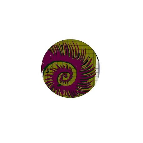 Purple & green swirl pattern Mini Button