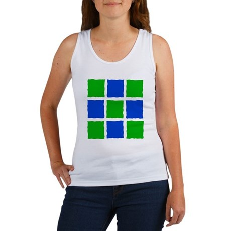 Blue-green squares Women's Tank Top