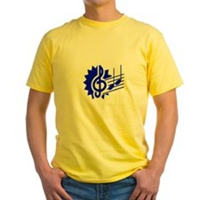 treble clef eighth notes staff graphic blue T-Shir