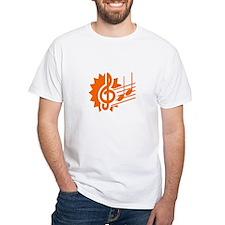 treble clef eighth notes staff graphic orange T-Sh
