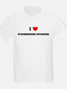 I Love Synchronized Swimming Kids T-Shirt