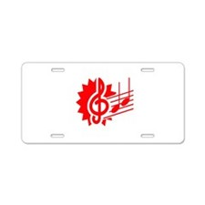 treble clef eighth notes staff graphic red Aluminu