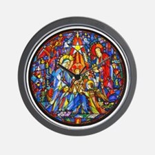 Stained Glass Style Nativity Wall Clock